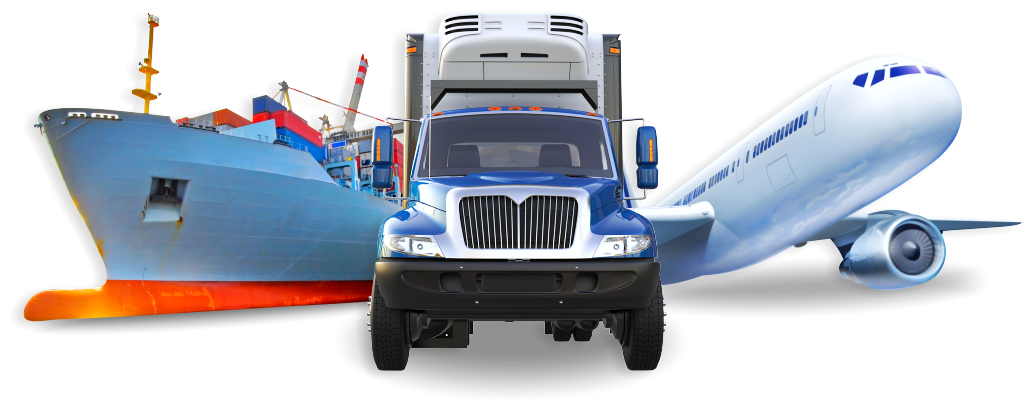transport boat, truck and airplane
