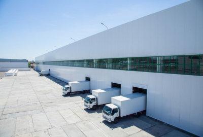 trucks parking on the storage